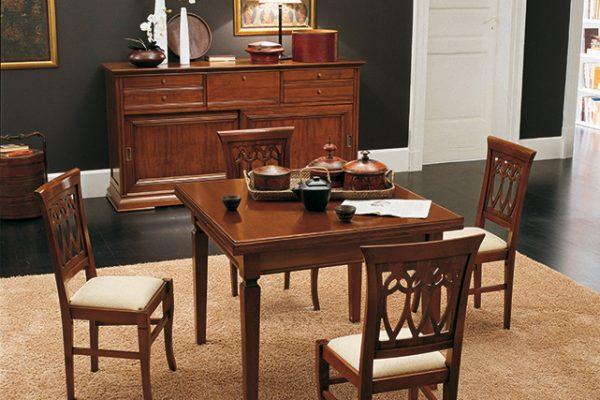 CRD201 Credenza/Sideboard (L.2080 x H.1100 x P.550) - TAV201 Tavolo quadrato/Squadre Table (L.1000/1800 x H.770 x P.1000) - SED102 Sedia 102/Chair 102 (L.455 x H.960 x P.455)